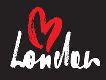 Inscrição de Londres com coração ilustração stock