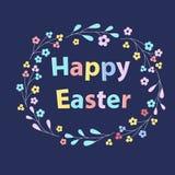 A inscrição de uma Páscoa feliz para a celebração Tex cercou por ramos com flores Foto de Stock Royalty Free