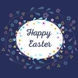 A inscrição de uma Páscoa feliz para a celebração Tex cercou por ramos com flores Imagens de Stock