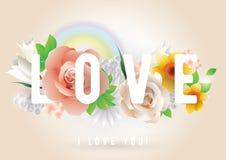 Inscrição do amor Cartão, convite ou cartaz do vetor Projete com flores, rosas, arco-íris e texto Útil para Imagem de Stock Royalty Free