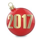 Inscrição 2017 do ano novo e do Natal com a bola do vermelho do brinquedo da Natal-árvore Fotografia de Stock Royalty Free