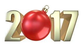 Inscrição 2017 do ano novo e do Natal com o bal vermelho do brinquedo do Natal da Natal-árvore Fotografia de Stock Royalty Free