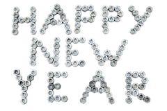 Inscrição do ano novo feliz das parafuso-porcas Foto de Stock