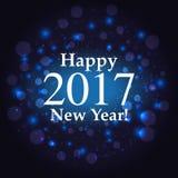 Inscrição do ano novo feliz no fundo do fogo de artifício ilustração do vetor