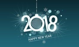 Inscrição do branco do ano novo feliz 2018 com bola do Natal Vector o projeto com estrelas, flocos de neve e brilho para seu cart ilustração do vetor