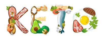 Inscrição do Keto feita do alimento ketogenic da dieta isolado no backround branco Ilustração do vetor ilustração do vetor