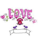 Inscrição do rosa do amor das letras Fotografia de Stock