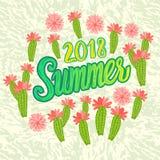 Inscrição 2018 do verão do vetor com as folhas da tendência isoladas no fundo preto Ilustração Stock