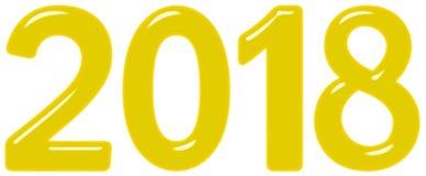 A inscrição 2018 do vidro ou do plástico amarelo, isolado no fundo branco, 3d rende ilustração royalty free