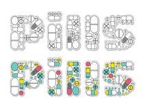 Inscrição dos comprimidos Ilustração Stock