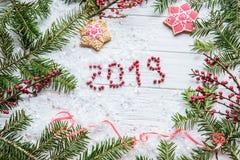 A inscrição 2019 em um fundo claro entre os ramos da árvore de Natal e do pão-de-espécie do Natal com testes padrões cumprimente fotografia de stock royalty free