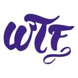 Inscrição escrita à mão de WTF Rotulação elegante Isolado no fundo branco Foto de Stock Royalty Free