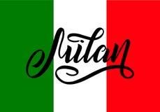Inscrição escrita à mão Milão e cores da bandeira nacional de Itália no fundo Rotula??o tirada m?o calligraphic ilustração royalty free