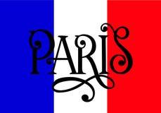 Inscrição escrita à mão Paris em cores da bandeira nacional de França Rotulação tirada mão Elemento caligráfico para Fotos de Stock Royalty Free