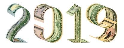 A inscrição 2019 feita de 100, 50, 20, 10 rendição das cédulas 3D do dólar imagens de stock royalty free