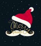 Inscrição feito a mão dourada da rotulação do Feliz Natal ilustração stock