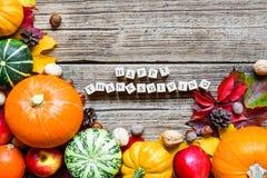 Inscrição feliz da ação de graças Fundo de Autumn Fall com abóboras, as maçãs, as porcas e as folhas de bordo colhidas Fotografia de Stock