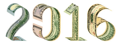 A inscrição 2016 fez de 100, 50, 20, cédulas de 10 dólares Imagens de Stock