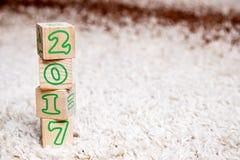 A inscrição 2017 fez dos cubos de madeira que encontram-se no tapete de terry Foto de Stock Royalty Free
