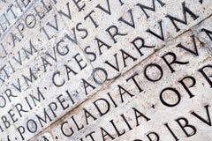 Inscrição latino na parede em Roma, Itália Imagens de Stock Royalty Free