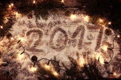 A inscrição 2017 na neve Fotografia de Stock Royalty Free