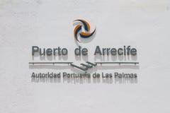 Inscrição no ` de Puerto de Arrecife do ` da parede Lanzarote, Spain Foto de Stock Royalty Free