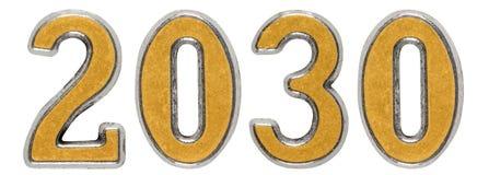 a inscrição 2030, no fundo branco, 3d rende Fotografia de Stock