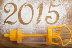 inscrição 2015 no fundo de madeira Fotos de Stock Royalty Free