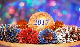 A inscrição 2017 no meio da composição do colorido Fotografia de Stock Royalty Free