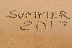 Inscrição no verão 2017 da areia Foto de Stock Royalty Free