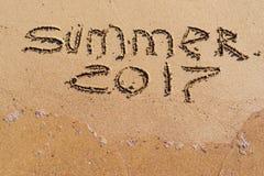 Inscrição no verão 2017 da areia Foto de Stock