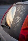 Inscrição no vidro da lavagem de carros mim Imagem de Stock