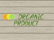 Inscrição - produto e fatias orgânicos de citrinas na textura de madeira ilustração stock