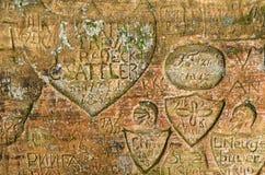 Inscrição velhas na caverna de Gautmanis Foto de Stock