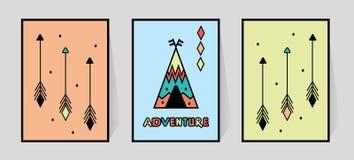 Inscri??o da aventura e tr?s setas para a tipografia da c?pia Decoração da parede da sala das crianças da tenda ou da tenda no es ilustração do vetor