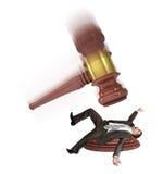 Inscribed gavel hitting businessman Stock Photos