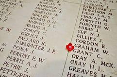 Names inside the Menin Gate Stock Photo