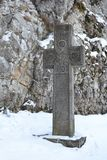 Inscribed stone cross royalty free stock image