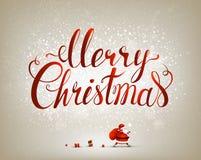 Inscrição do Feliz Natal no fundo festivo Imagens de Stock Royalty Free