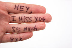 Inscrição na palma do amor da menina Fotografia de Stock Royalty Free
