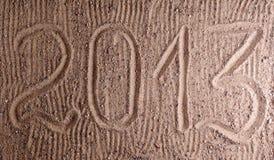 Inscripción 2013 en la arena Fotos de archivo libres de regalías