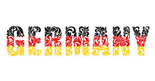 Inscripción Alemania del modelo decorativo floral Letras del color de la bandera alemana Foto de archivo