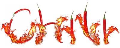 Inscripción ardiente del chile Foto de archivo libre de regalías