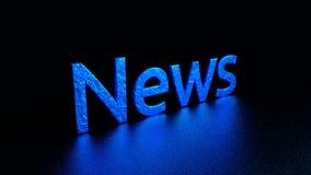 Inscripción azul con la reflexión noticias Ejemplo gráfico representación 3d Fondo Foto de archivo