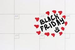 Inscripción Black Friday en el calendario 2018 imagen de archivo libre de regalías