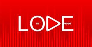 Inscripción blanca en modo del amor con el botón de reproducción en fondo rojo brillante con el equalizador de la onda acústica stock de ilustración