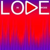 Inscripción blanca en modo del amor con el botón de reproducción en fondo rojo y púrpura brillante con el equalizador de la onda  ilustración del vector