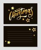 Inscripción caligráfica de la Feliz Navidad adornada con las estrellas y las gotas de oro stock de ilustración