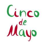 Inscripción Cinco de Mayo 5 de mayo Ilustración del vector