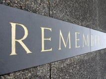 Inscripción conmemorativa de la guerra: recuerde Fotos de archivo libres de regalías
